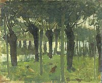 Piet Mondriaan - Willow grove near the water with chickens - A469 - Piet Mondrian, catalogue raisonné.jpg