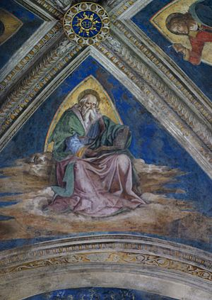 Bufalini Chapel - Detail of St. John the Evangelist, in the vault.