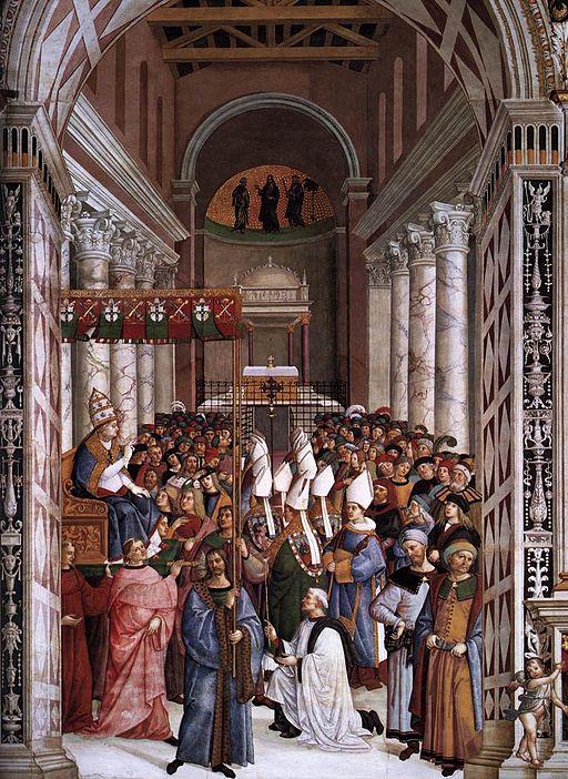 Pinturicchio, Libreria Piccolomini, Pio II, incoronato pontefice, entra in Vaticano