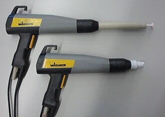 Powder coating - Example of powder coating spray guns