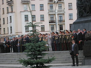 Independence Day (Belarus) - A speech by President of Belarus Alexander Lukashenko during the Independence Day celebrations on Victory Square in 2010.