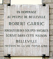 Plaque Robert Garric, 162 rue de Belleville, Paris 20.jpg
