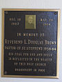 Plaque in honor of L. Douglas Brown displayed in St. Stephen's R.C. Church in Cayuga, Ontario.jpg