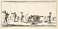Plate 10- a soldier charging a cannon in center, other soldiers with picks standing at left and right, from 'Troops, cannons, and attacks on towns' (Dessins de quelques conduites de troupes, canons, et ataques de villes) MET DP833208.jpg