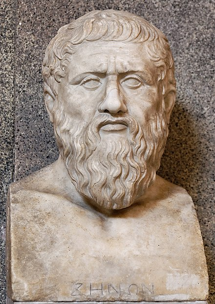 Ancient Greek philosopher Plato argued that ideals exist in a kind of independence from humanity such that reason discovers the principles rather than simply creates them. Plato Pio-Clementino Inv305 n2.jpg