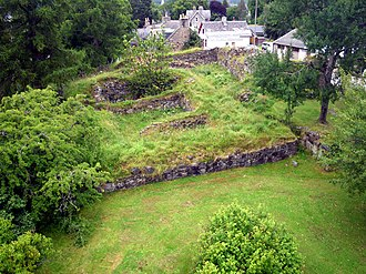 Braemar - Pole aerial photo of the ruins of The Royal Castle of Kindrochit in Mar.