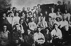 Ion Dic Dicescu - Ion Dic Dicescu (front row, second from left) along with fellow Romanian Ghiţă Moscu in the political section of the Turkestan Front, 1919-1920