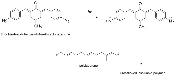 A crosslinking of a polyisoprene rubber by a photoreactive biazide as negative photoresist Polyisoprene negative photoresist.tif
