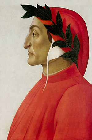 Dante Alighieri - Profile portrait in tempera by Sandro Botticelli, 1495