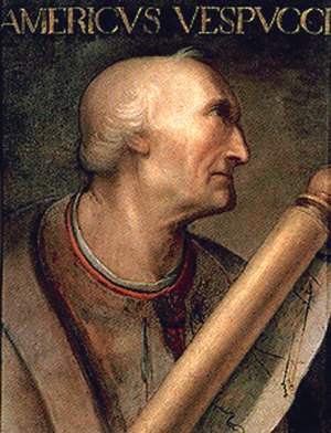 Amerigo Vespucci - Portrait in the Giovio Series at the Uffizi, Florence, attributed to Cristofano dell'Altissimo