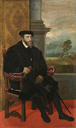 Portrait of Charles V, Holy Roman Emperor, seated (1500–1558), formerly attributed to Titian (Alte Pinakothek, Munich).jpg