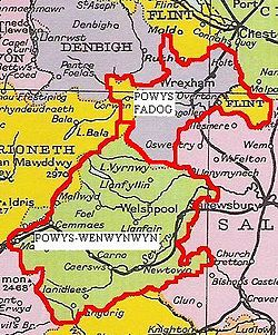 Powys as divided in 1190.