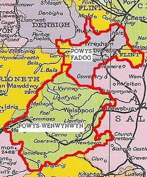 Powys Fadog - Powys as divided in 1190.