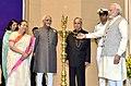 Pranab Mukherjee, the Vice President, Shri M. Hamid Ansari, the Speaker, Lok Sabha, Smt. Sumitra Mahajan and the Prime Minister, Shri Narendra Modi at the inaugural ceremony of the National Conference of Women Legislators.jpg