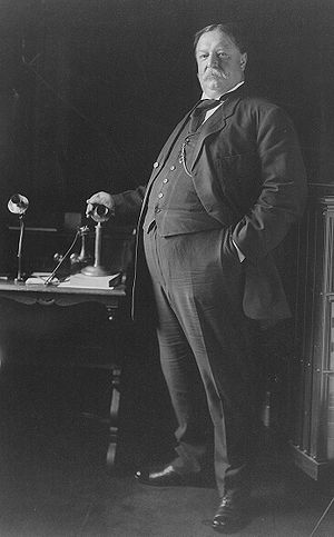 U.S. President William Howard Taft in 1908, po...