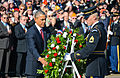 President Barack Obama, center left, lays a wreath at the Tomb of the Unknowns at Arlington National Cemetery in Arlington, Va., during a Veterans Day ceremony Nov. 11, 2013 131111-A-KT191-008.jpg