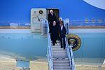 President Barack Obama is accompanied by Sens. Lamar Alexander and Bob Corker, and Congressman Jim Duncan as they exit Air Force One at McGhee Tyson Air National Guard Base, Tenn., Jan. 9.jpg
