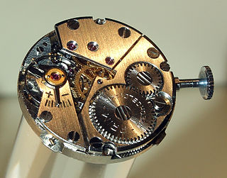 Clockwork inner workings of a mechanical clock, or other mechanism that works similarly