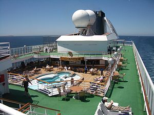 """MS Prinsendam (1988) - Lido and Sports decks. The """"astro turf"""" ground coverings have since been replaced with teak decks."""