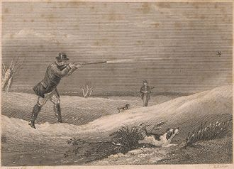 Shooting - Edward Hacker (1813-1905), after Abraham Cooper, RA, (1787–1868), print of shooting, UK.