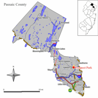 Map of Prospect Park in Passaic County. Inset: Location of Passaic County highlighted in the State of New Jersey.