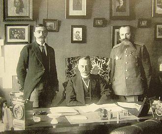Alexander Protopopov - Alexander Protopopov and two aides, September 1916