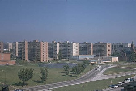 Pruitt-Igoe was a large housing project constructed in 1954, which became infamous for poverty, crime and segregation. It was demolished in 1972. Pruitt-Igoe-overview.jpg