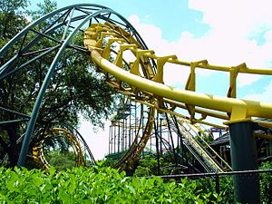 Python (Busch Gardens Tampa Bay) - Python's double-corkscrew element (chain lift and first drop in background).