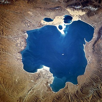 Qinghai Lake - From space (November 1994). North is to the left.