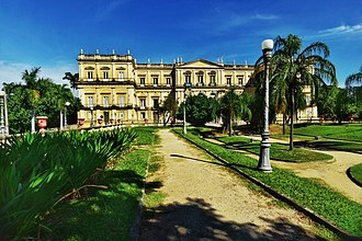 Quinta da Boa Vista - Neoclassical facade of the former Imperial Palace that was the National Museum of Brazil