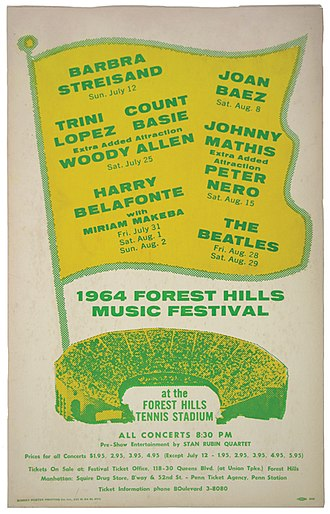 West Side Tennis Club - Poster for 1964 concerts at Forest Hills Tennis Stadium, headlining Barbra Streisand, Count Basie, Woody Allen, Johnny Mathis, Harry Belafonte, Peter Nero and The Beatles.