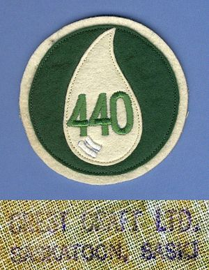 440 Transport Squadron - A RCAF 440 uniform shoulder patch used by the Squadron circa 1957. The Crest Craft back-stamp was only used between 1957 and 1959.