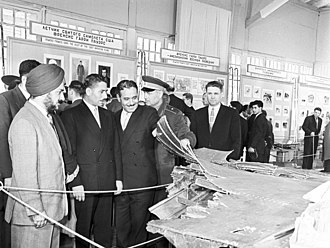 Military attaches of foreign embassies visiting the exhibition of remains of U.S. U-2 spy-in-the-sky aircraft destroyed on May 1, 1960 near Sverdlovsk (currently Yekaterinburg). RIAN archive 793499 Exhibition of remains of U.S. U-2 spy-in-the-sky aircraft.jpg