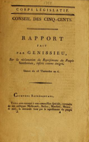 Jean Joseph Victor Génissieu - Report to the Council of Five Hundred on 16 Thermidor VI (3 August 1798)