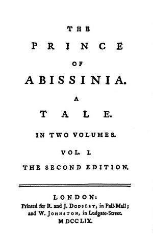 The History of Rasselas, Prince of Abissinia - Cover of corrected Second Edition of 1759