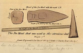 "Ratcliff Highway murders - Contemporary newspaper illustration of the pen maul used in the first murders, showing the initials ""IP"" or ""JP"""