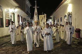 A Christian procession in Brazil, the country with the largest Catholic population in the world Reabertura Museu de Arte Sacra (18626301050).jpg