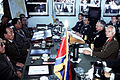 Rear Admiral Larry G. Vogt, center right, and other senior members of the United Nations Command face their North Korean counterparts across the negotiating table during the 458th Military Armistice Commission DN-ST-91-02136.jpg