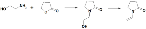 Rection aminoethanol with gamma-butirolactone.png