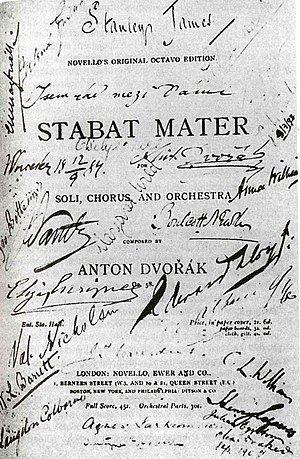 Stabat Mater (Dvořák) - The title page of the score of Stabat Mater. The remembrance of the performance in Worcester on 12 September 1884, with signatures of Antonín Dvořák and members of the orchestra