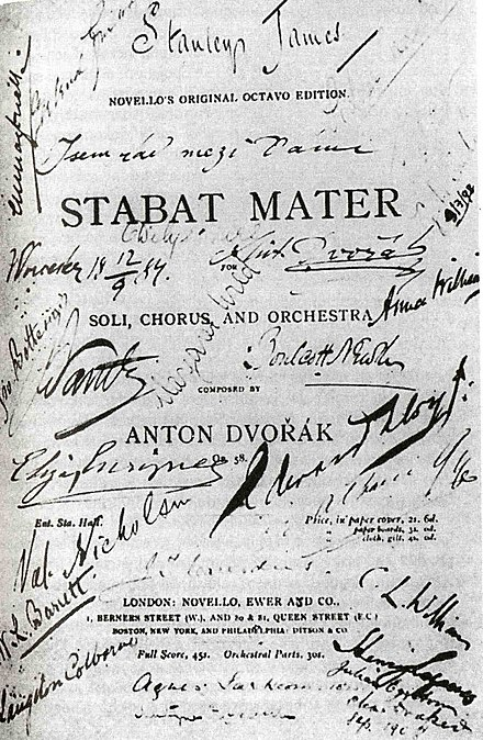 Title page of the score of Stabat Mater, with signatures of performers Remembrance of the performance of Stabat Mater in Worcester on 12 September, 1884..jpg