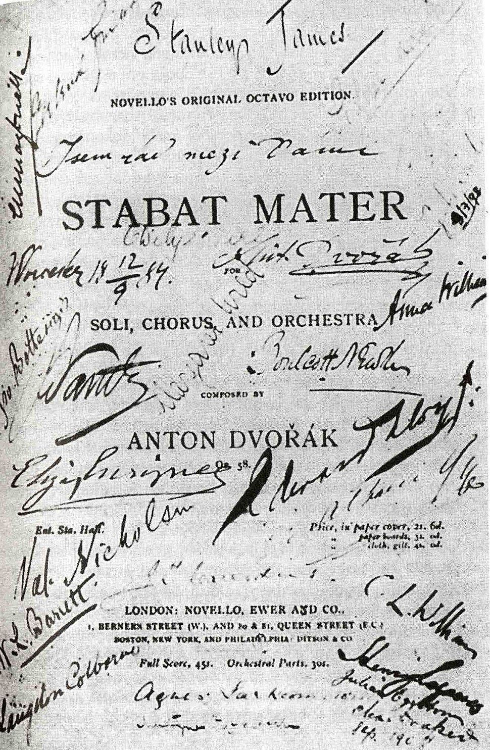 Remembrance of the performance of Stabat Mater in Worcester on 12 September, 1884.