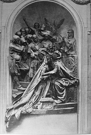 Union of Brittany and France - The Monument to the Union of Brittany and France in Rennes, designed by Jean Boucher in 1911. It depicts the meeting of Duchess Anne and King Charles VIII. The monument was destroyed by Breton separatists in 1932.