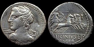 Licinius Macer - O: Diademed bust of Vejovis hurling thunderbolt