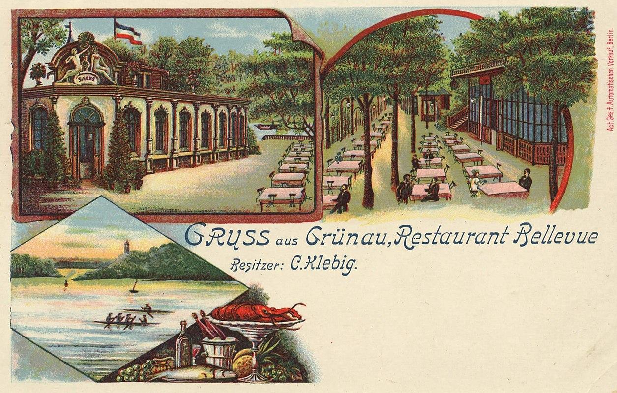 """Ansichtskarte von 1895: Restaurant """"Bellevue"""""""
