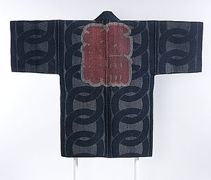 Sashiko stitching - Image: Reversible Fireman's Coat (hikeshibanten) with Interlocking Circles, Chinese Characters (kanji) and Ginkgo Leaves LACMA M.2000.78 (2 of 2)