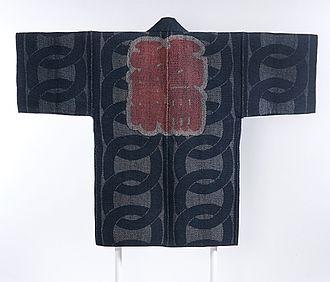 Sashiko stitching - Image: Reversible Fireman's Coat (hikeshibanten) with Interlocking Circles, Chinese Characters (kanji) and Ginkgo Leaves LACMA M.2000.78 (2 of 2)