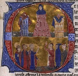 Aimery of Limoges - Raynald of Châtillon torturing Aimery, from a MS of William of Tyre's Historia and the Old French Continuation, painted in Acre, 13th century, now in the Bibliothèque nationale de France.