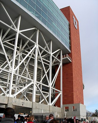 Rice-Eccles Stadium - The Rice-Eccles Stadium with the University of Utah's Block U