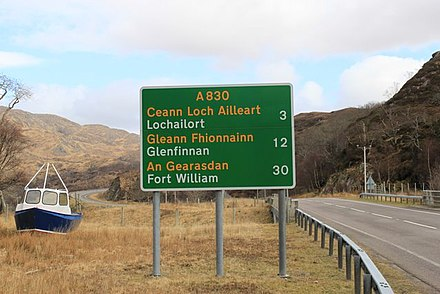 Bilingual (Scottish Gaelic/English) roadsigns are found throughout the Highlands and the Hebrides. Road to Fort William - geograph.org.uk - 1804287.jpg